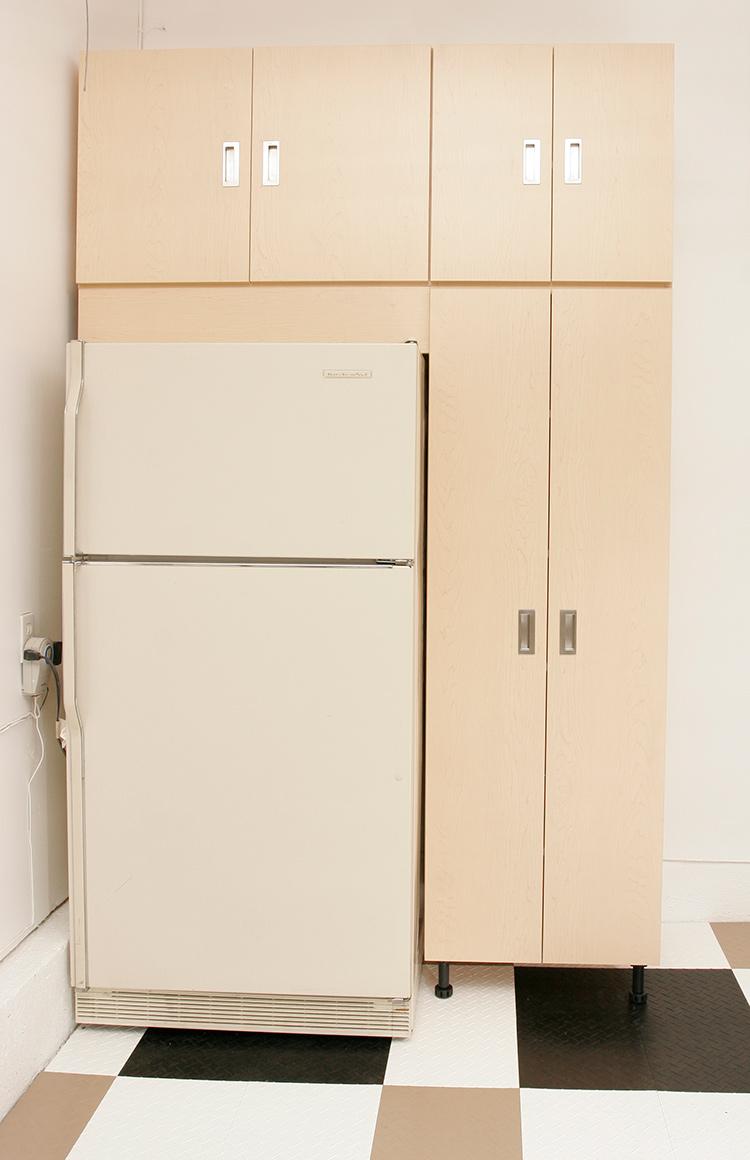 Custom Garage Cabinets Around Fridge
