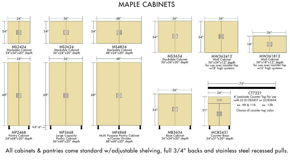 maple cabinet sizes